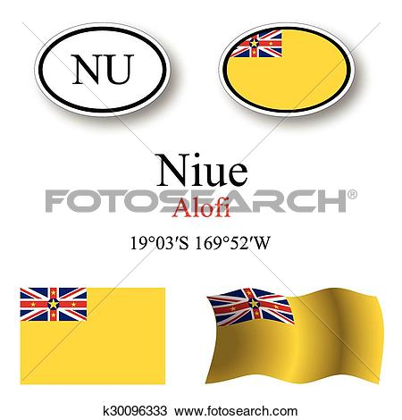 Clipart of niue icons set k30096333.