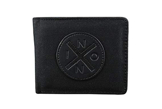 Classic Nixon Black Wax Cooper BiFold Wallet with Nixon Logo.
