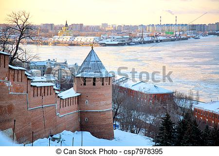 Stock Images of November view of Strelka from Nizhny Novgorod.