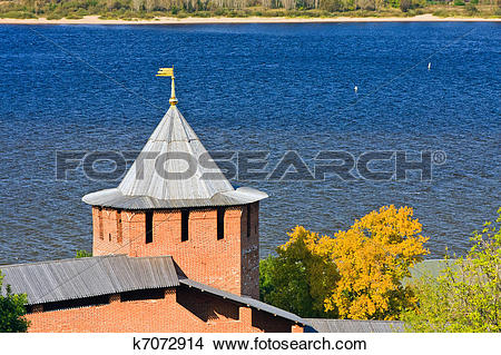 Stock Photo of White tower of Nizhny Novgorod Kremlin, Russia.