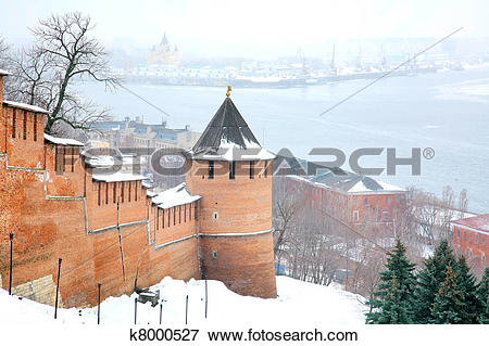 Picture of November view snow Nizhny Novgorod Kremlin Russia.