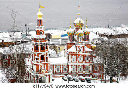 Stock Photography of Stroganov Church in first november snow.