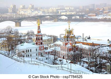 Stock Images of Winter view of Stroganov Church in Nizhny Novgorod.