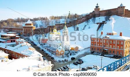 Stock Photography of February view Kremlin Nizhny Novgorod Russia.