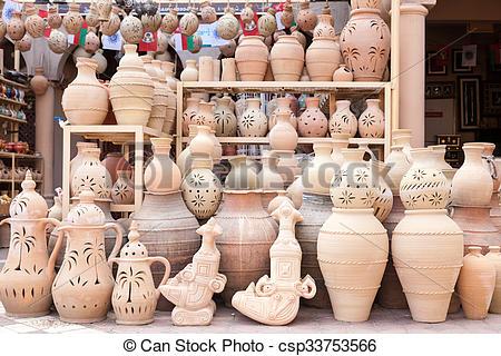 Stock Image of Terracotta pots for sale in Nizwa, Oman.
