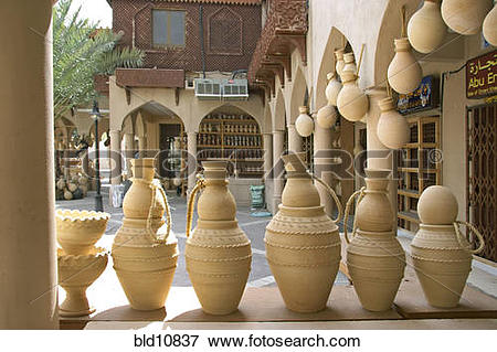 Picture of Oman sound jugs in the Souq of Nizwa, Clay pots at the.
