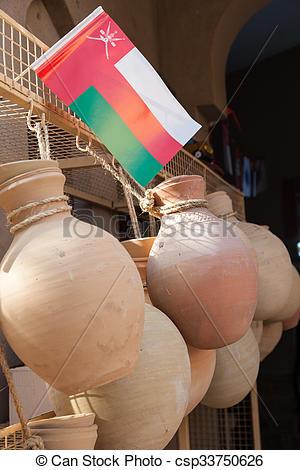 Stock Photo of Terracotta pots for sale in Nizwa, Oman.