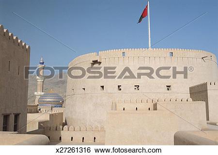Stock Images of Oman, Dhakiliya, Nizwa, Nizwa fort x27261316.