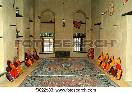 Stock Photo of Oman, Nizwa, the fort, assembly room f0022583.