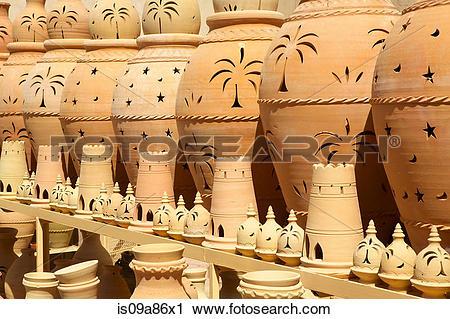 Stock Photography of Terracotta pots in Nizwa Castle. Nizwa, Oman.