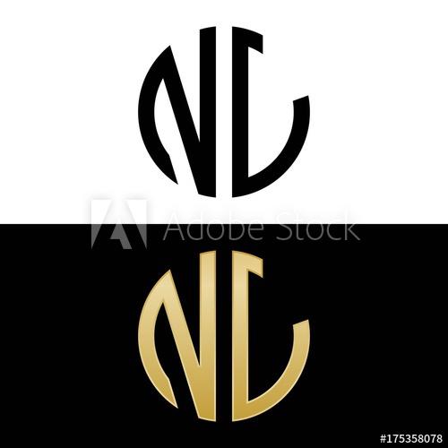 nl initial logo circle shape vector black and gold.