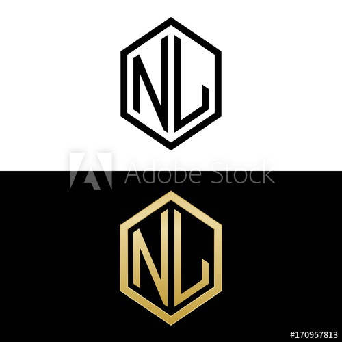 initial letters logo nl black and gold monogram hexagon.