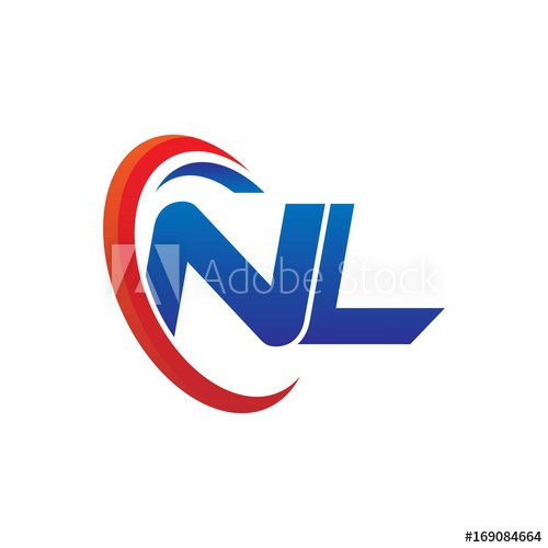 dynamic vector initial letters logo nl with circle swoosh.