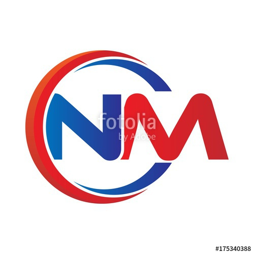nm logo vector modern initial swoosh circle blue and red.