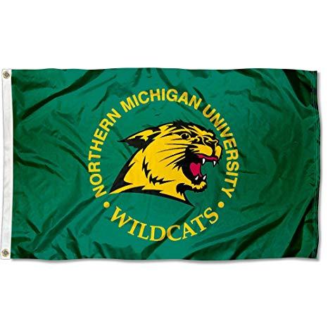 Northern Michigan Wildcats NMU University Large College Flag.