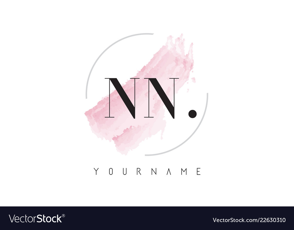 Nn watercolor letter logo design with circular.