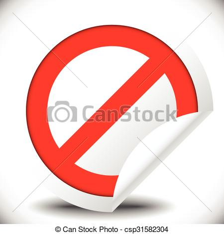 Vector Clipart of Prohibition, restriction, no entry sign. For no.