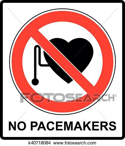 No access with cardiac pacemaker sign Clipart.