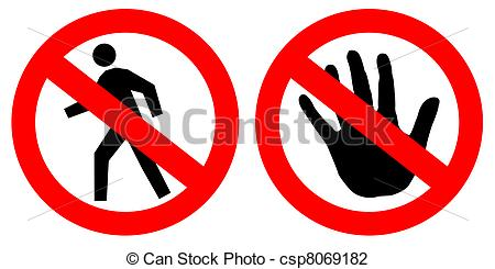 Clip Art of No entry signs over white csp8069182.