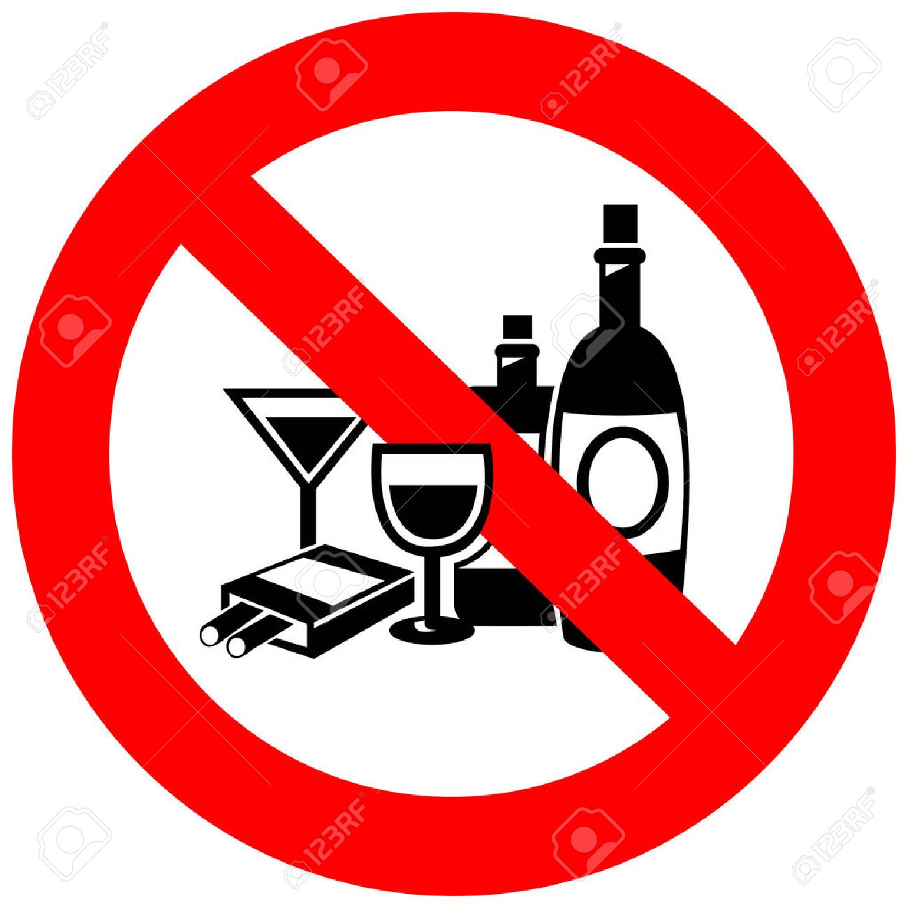 No alcohol and smoking sign, create by vector.