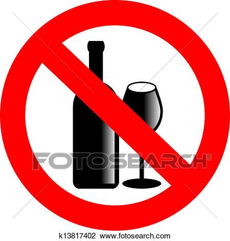 No alcohol vector sign Clipart.