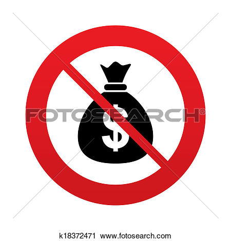 Clipart of No Money bag sign icon. Dollar USD currency. k18372471.