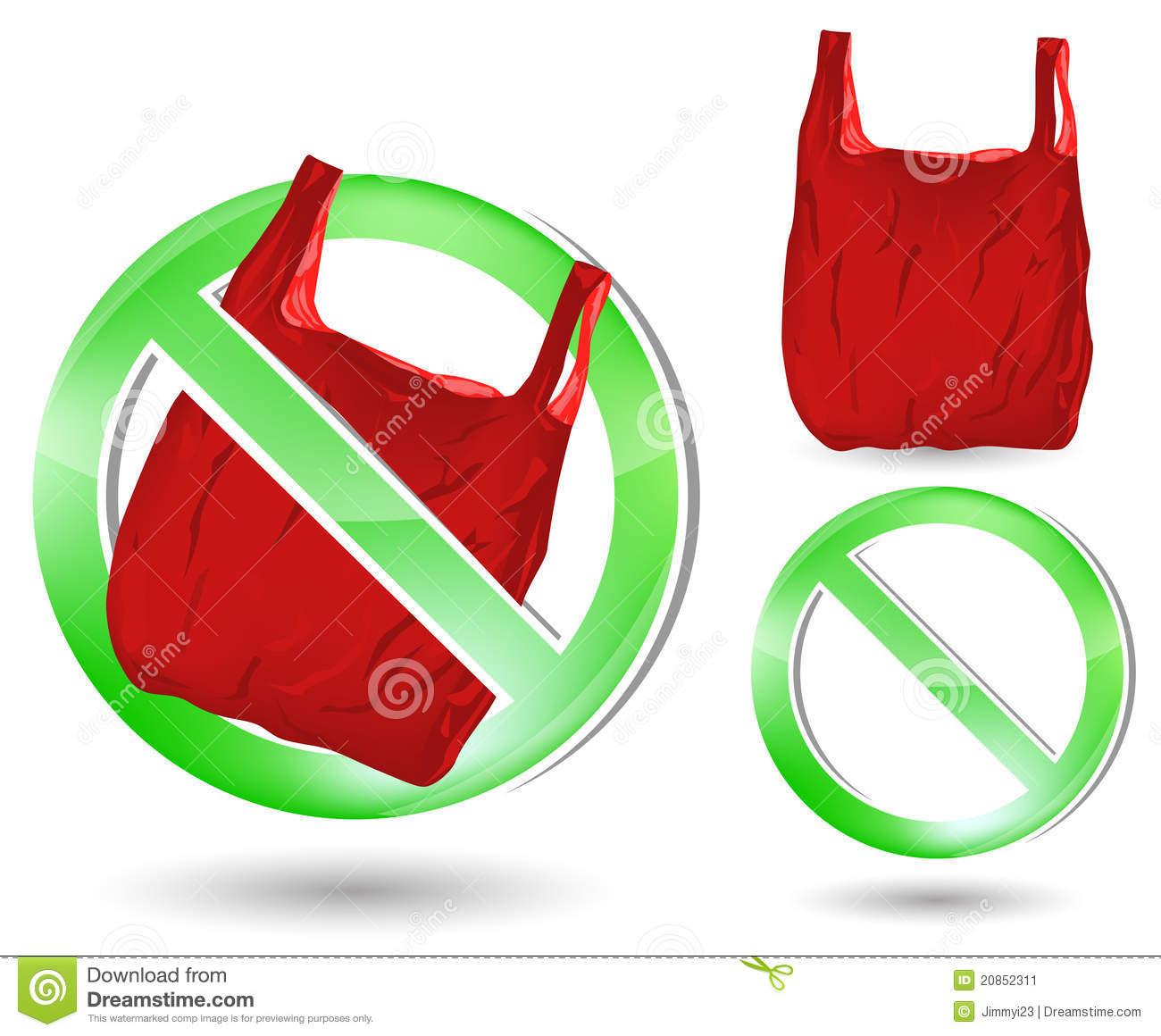 No Plastic Bag Sign Stock Image.