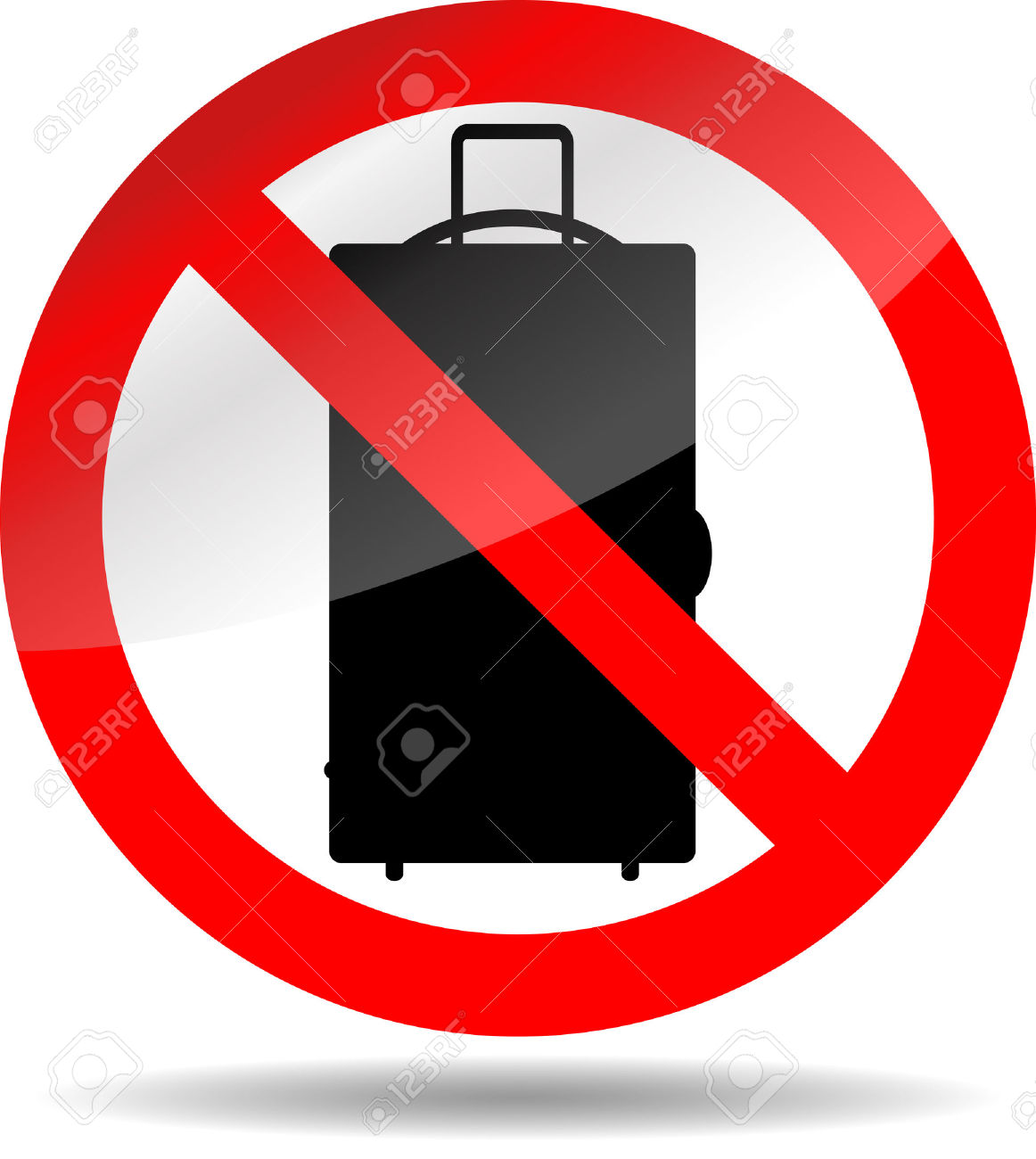 Ban Luggage. Baggage Bag No Or Not, Prohibition Button. Vector.