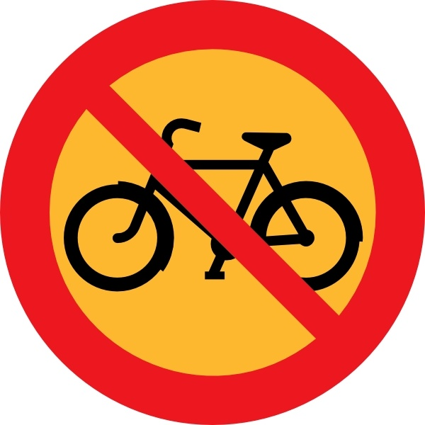 No Bicycles Roadsign clip art Free vector in Open office drawing.