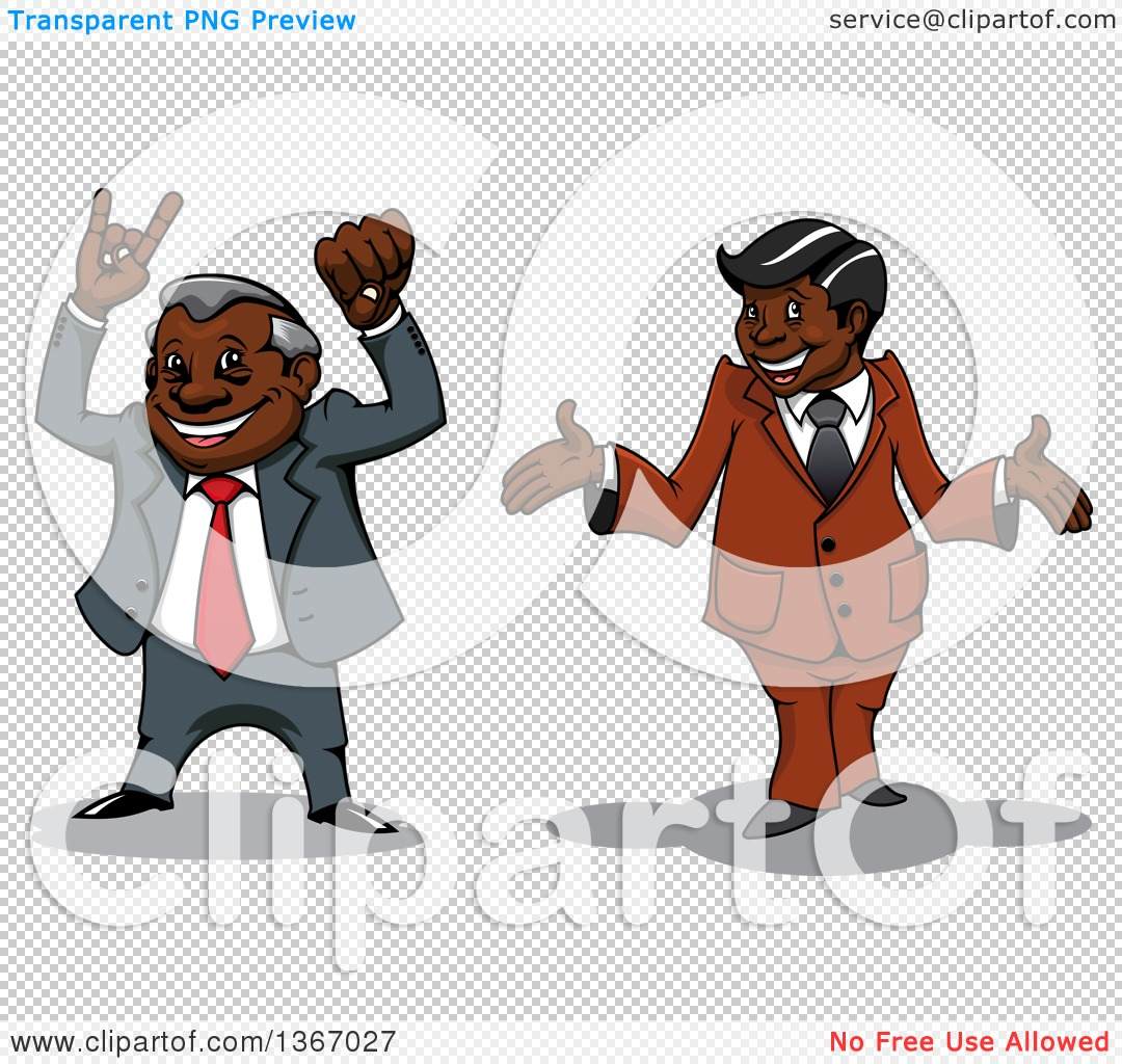 Clipart of Cartoon Happy Black Business Man Cheering and Shrugging.