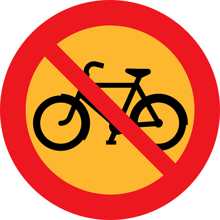 Free vector graphic: No Biking, Bicycle, Bike, Cycling.