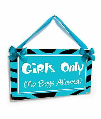 Personalizable Girls Only Room no Boys Allowed Tennagers Bedroom Door Sign  Blue.