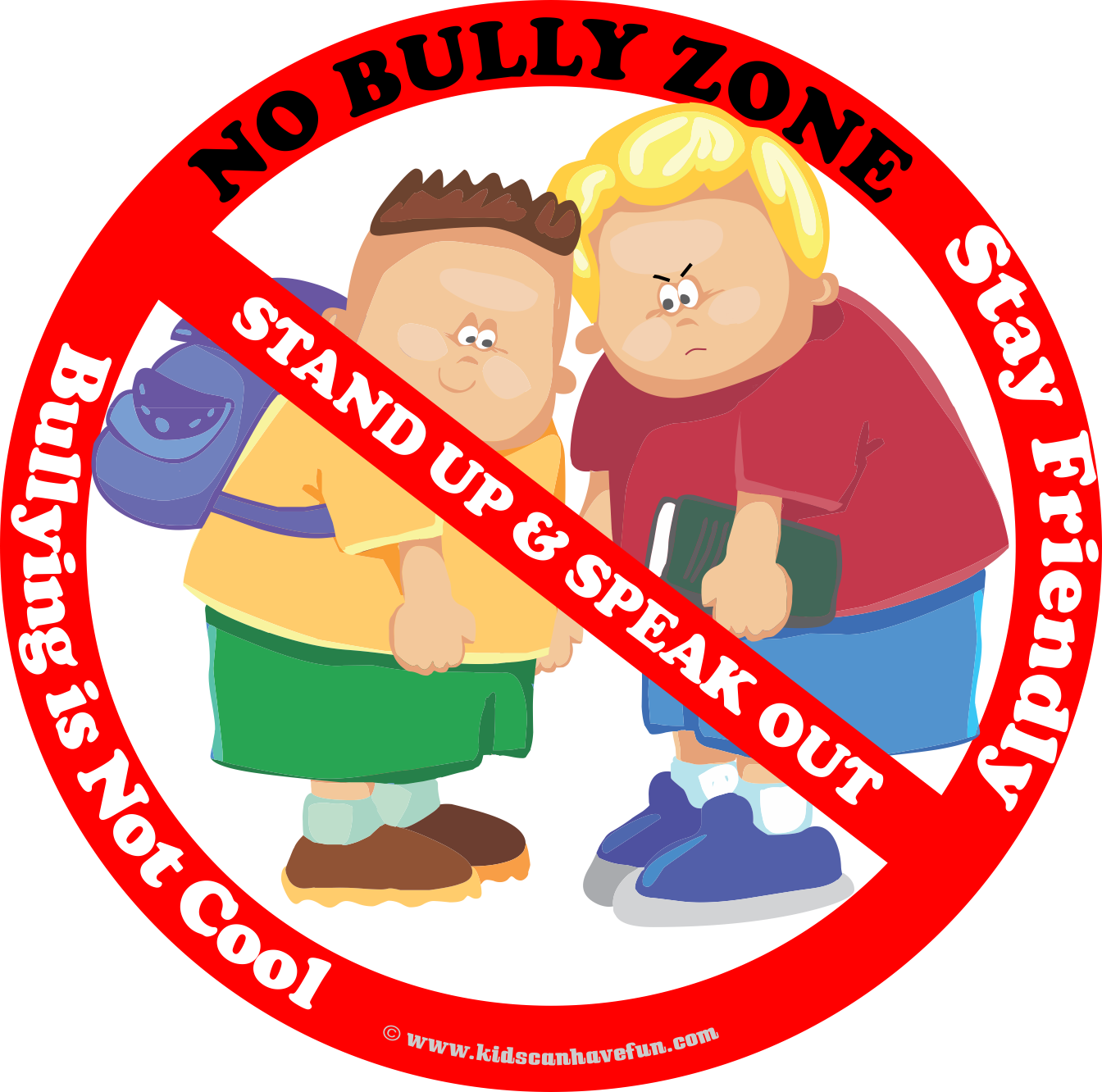 No Bully Zone Poster to hang up at school, home or daycare.