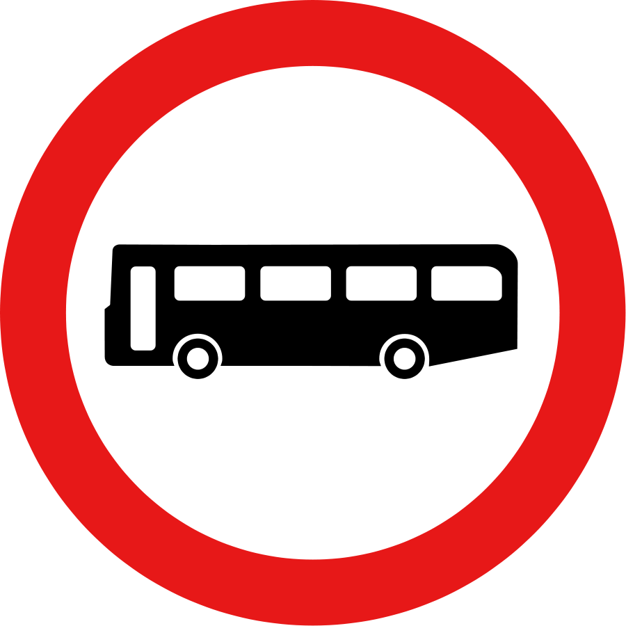 Roadsign no buses large 900pixel clipart, Roadsign no buses design.