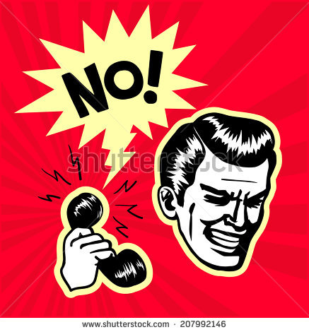 Retro Vintage Clipart Pointblank Rejection Annoying Stock Vector.
