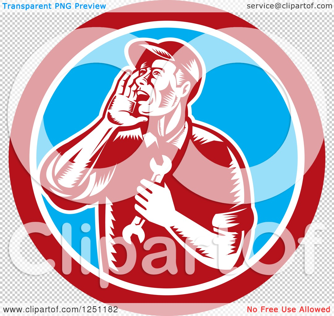 Clipart of a Retro Woodcut Male Mechanic Holding a Spanner Wrench.