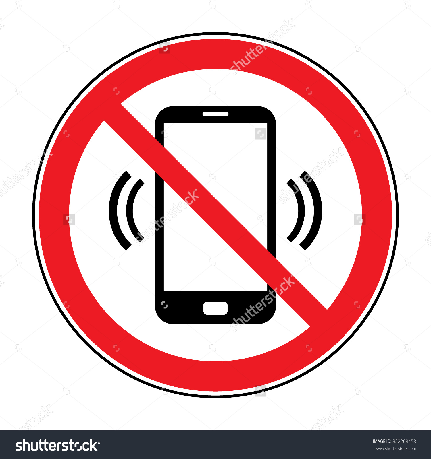 No Cell Phone Sign Mobile Phone Stock Vector 322268453.