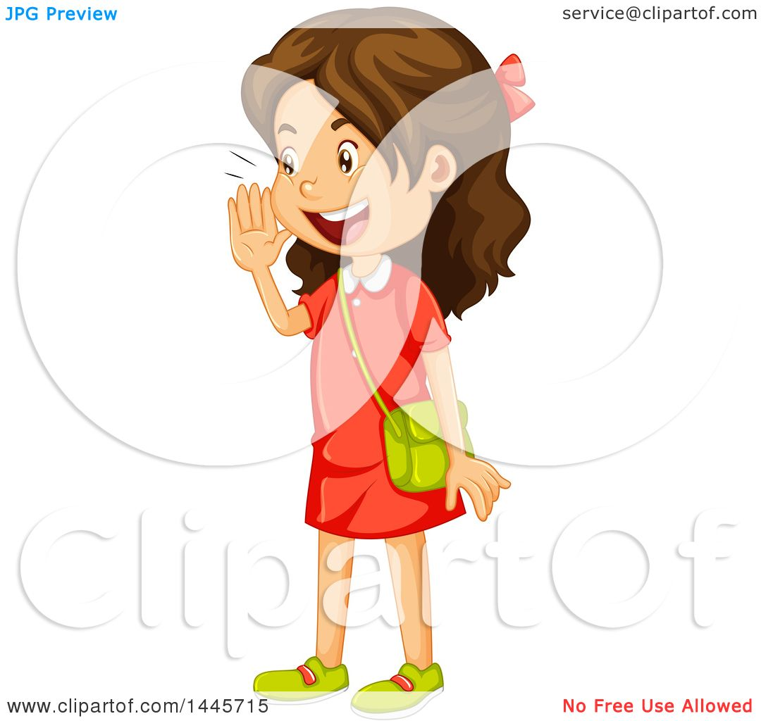 Clipart of a Brunette Caucasian Girl Calling out.