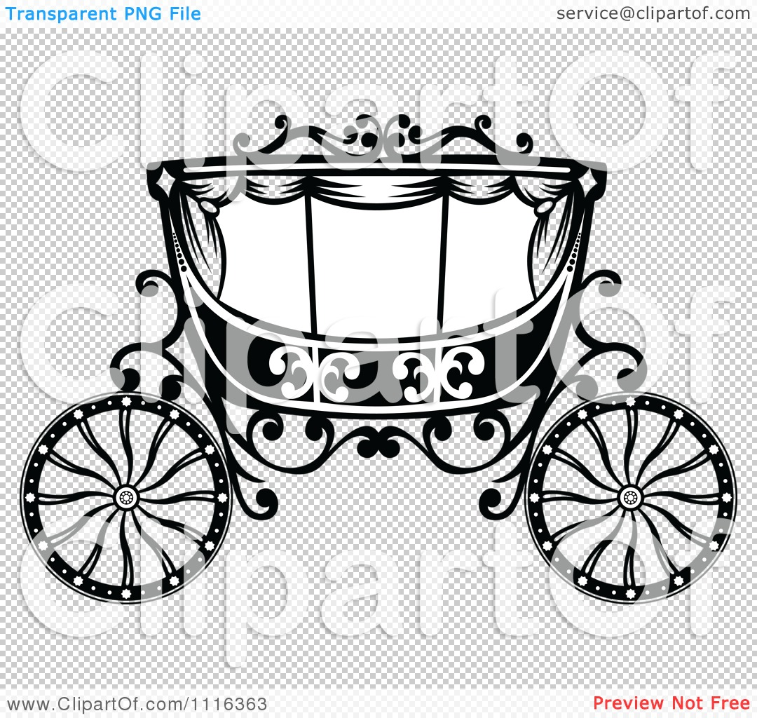 Clipart Black And White Fairy Tale Romantic Wedding Carriage.