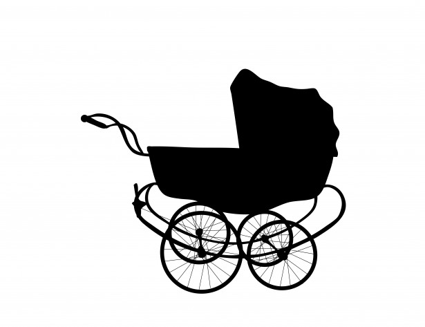 Vintage baby buggy clipart.