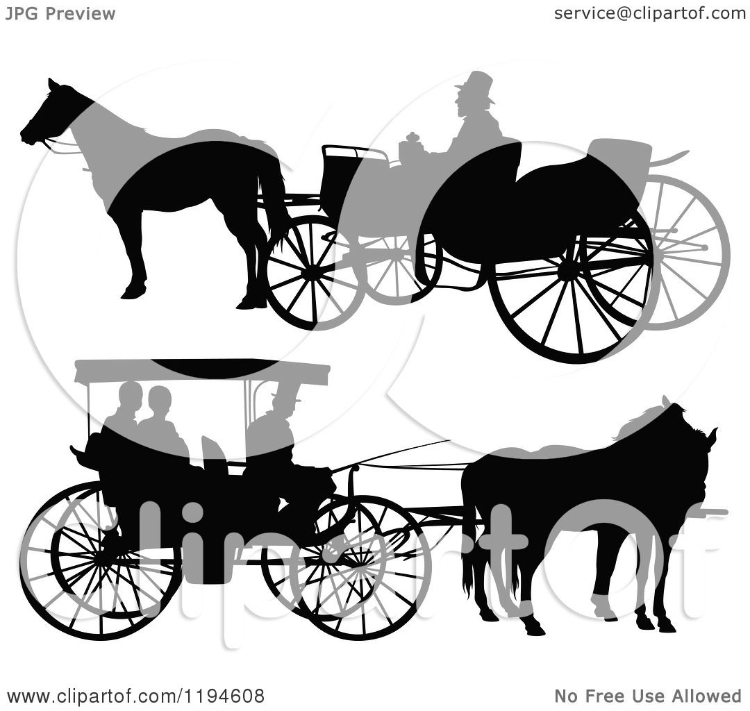 Clipart of Black Silhouetted Horse Drawn Carriages 2.