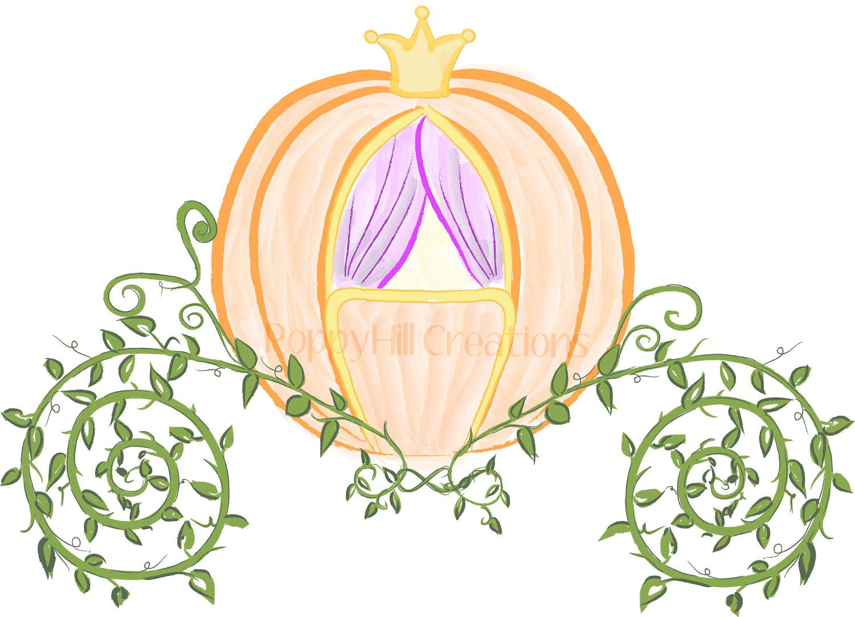 Cinderella carriage color clipart.