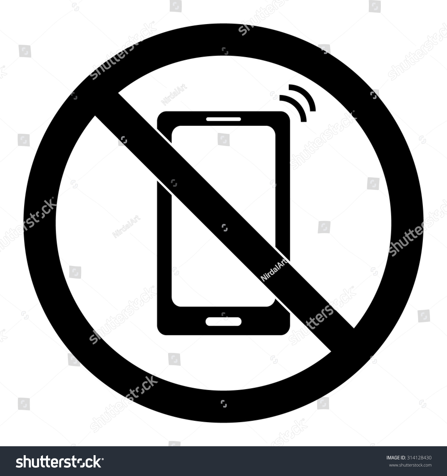 Gallery For No Cell Phone Clipart Black And White.