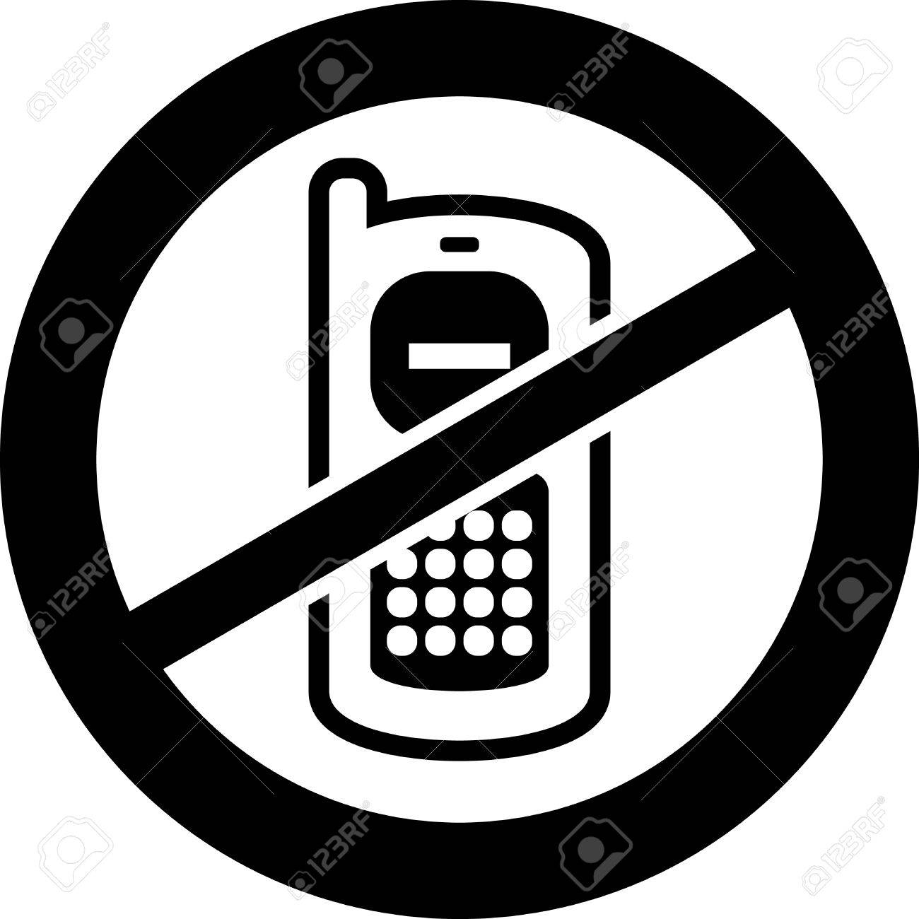 No Cell Phone Clipart Black And White.