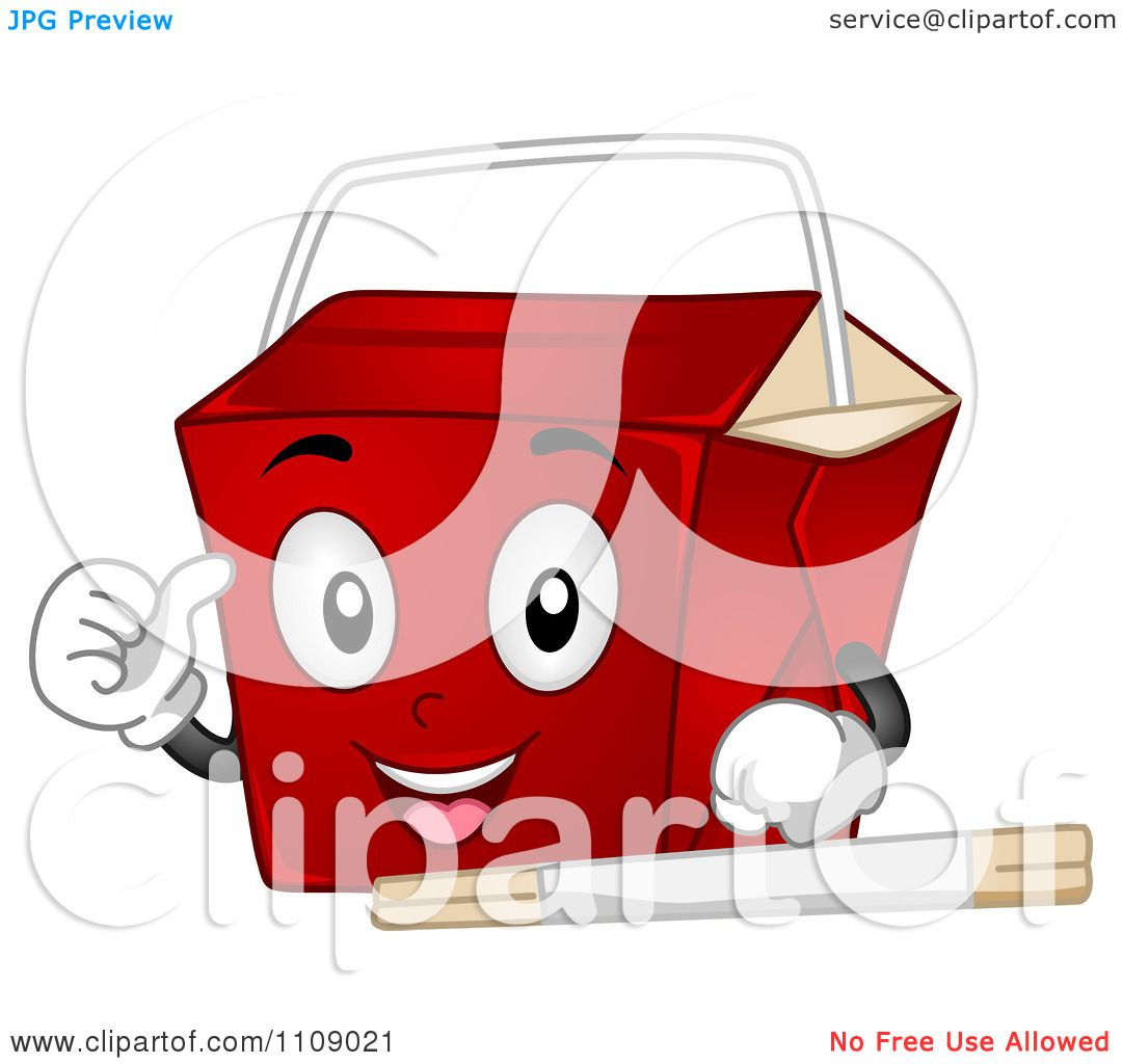 Clipart Chinese Food Take Out Box Mascot.