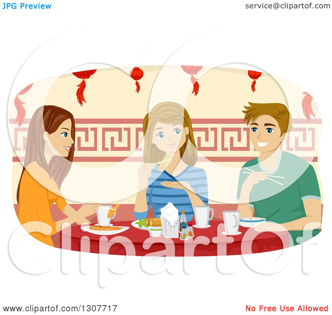 Clipart of a Young Caucasian Man and Girl Eating at a Chinese.