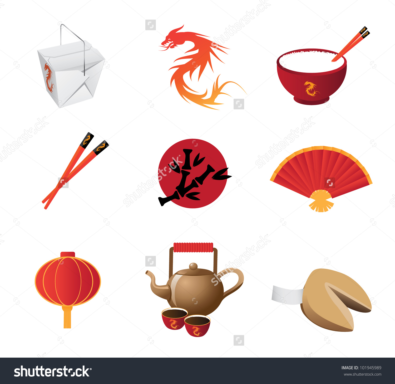 Chinese Restaurant Icon Set Eps 8 Vector, Grouped For Easy Editing.