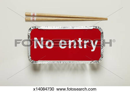 Stock Photography of Chinese food takeaway container with no entry.