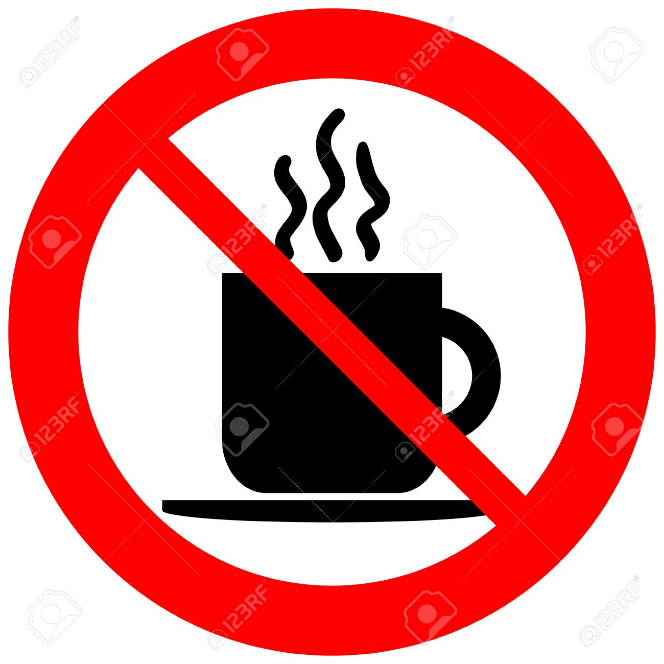 No coffee cup sign on white background..
