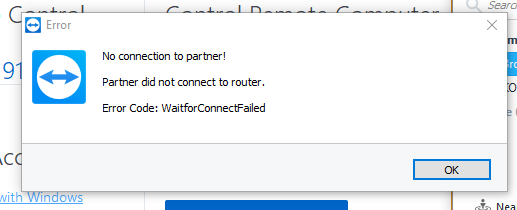 Partner did not connect to router.
